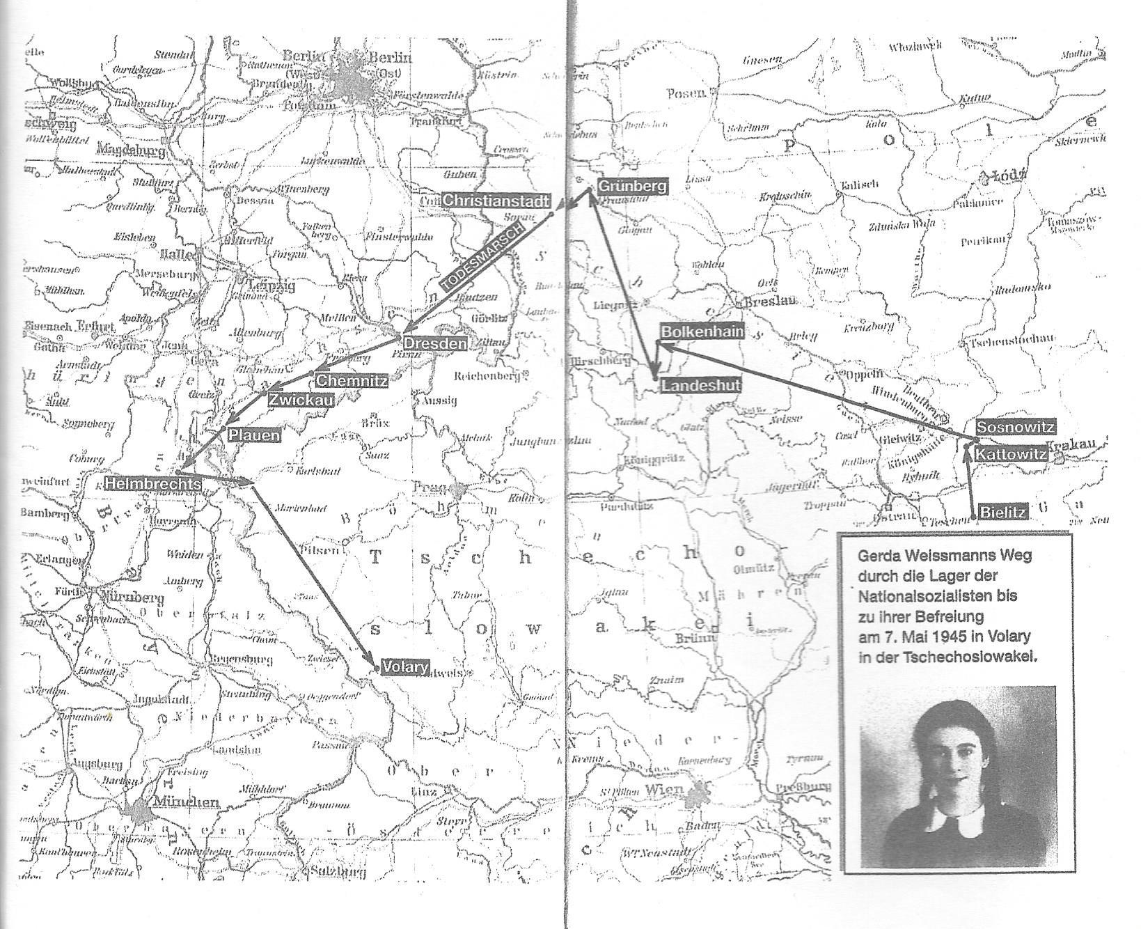 Karte, Todesmarsch, Arbeitslager