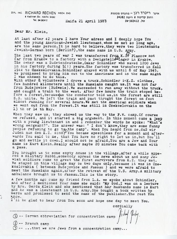 Richard Rechen, Brief, Schindler, Kurt Klein